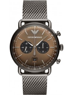 Chic Time | Montre Homme Emporio Armani Aviator AR11141 Chronographe Avec gris Acier  | Prix : 254,25€