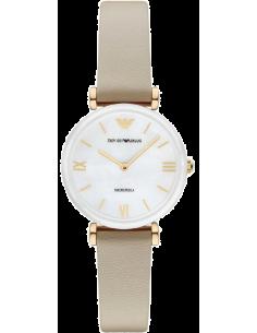 Chic Time | Montre Femme Emporio Armani Gianni AR11041 Cuir beige bracelet avec Cadran Nacre  | Prix : 239,20€