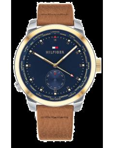 Chic Time | Montre Homme Tommy Hilfiger Pinnacle 1791553 Cadran bleu Avec cuir bracelet  | Prix : 195,00€