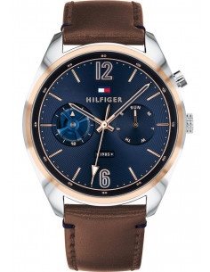Chic Time | Montre Homme Tommy Hilfiger Deacon 1791549 Cadran bleu avec marron cuir bracelet  | Prix : 135,20€