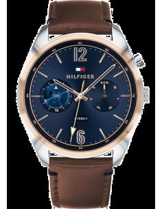 Chic Time | Montre Homme Tommy Hilfiger Deacon 1791549 Cadran bleu avec marron cuir bracelet  | Prix : 179,00€