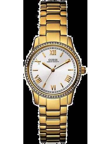 Chic Time   Montre Guess Femme Hi-Status Fond Blanc Bracelet Acier Or    Prix : 289,00€