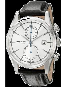 Chic Time | Montre Hamilton H32416781 Spirit of Liberty chronographe automatique cadran gris bracelet cuir noir  | Prix : 1,3...
