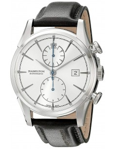 Chic Time | Montre Hamilton H32416781 Spirit of Liberty chronographe automatique cadran gris bracelet cuir noir  | Prix : 1,5...
