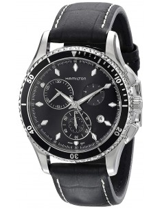 Chic Time | Montre Hamilton H37512731 Jazzmaster Seaview Chrono quartz bracelet cuir  | Prix : 725,00€