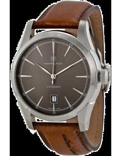 Chic Time | Montre Hamilton H42415591 Timeless Classic Spirit of Liberty automatique cadran ardoise bracelet cuir patiné choc...
