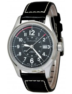 Chic Time | Montre Hamilton H70595733 Khaki Field Officer cadran noir cuir noir  | Prix : 535,50€