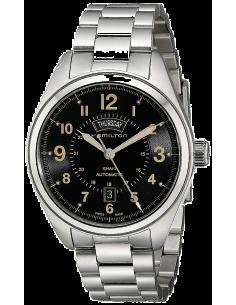 Chic Time | Montre Hamilton H70505933 Khaki Field Day Date automatique bracelet acier index sable  | Prix : 795,00€