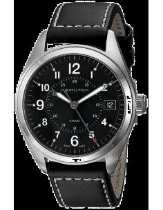 Chic Time   Montre Hamilton H68551733 Khaki Field quartz cadran noir bracelet cuir    Prix : 395,00€