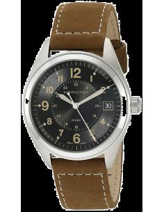 Chic Time | Montre Hamilton H68551833 Khaki Field quartz cadran noir bracelet nubuck  | Prix : 395,00€