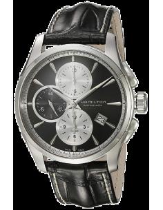 Chic Time   Montre Hamilton H32596781 Jazzmaster auto chrono cadran noir bracelet cuir noir    Prix : 1,300.50
