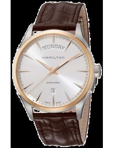 Chic Time | Montre Hamilton H42525551 Jazzmaster Day Date automatique 42mm acier et pvd or rose bracelet cuir  | Prix : 975,00€