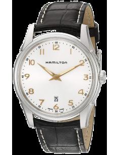 Chic Time | Montre Hamilton H38511513 Jazzmaster thinline quartz acier cadran argenté bracelet cuir marron 42mm  | Prix : 360...