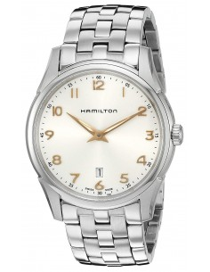 Chic Time   Montre Hamilton H38511113 Jazzmaster thinline quartz acier cadran argenté bracelet acier 42mm    Prix : 410,00€
