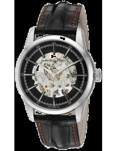 Chic Time   Montre Hamilton H40655731 Railroad Skeleton automatique bracelet cuir rehaut noir    Prix : 1,230.00