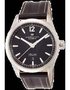Chic Time | Montre Hamilton H43515735 Broadway automatique day-date acier sur cuir noir 42 mm  | Prix : 895,00€