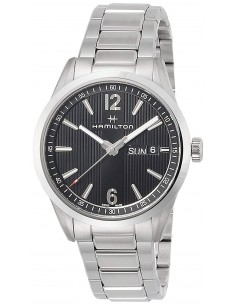 Chic Time   Montre Hamilton H43311135 Broadway Day-Date quartz acier cadran noir 40 mm    Prix : 575,00€