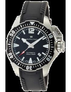 Chic Time | Montre Hamilton H77605335 Khaki Navy Frogman automatique acier sur caoutchouc noir 42 mm  | Prix : 995,00€
