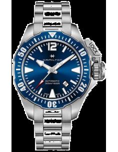 Chic Time   Montre Hamilton H77705145 Khaki Navy Frogman automatique acier cadran bleu 42 mm    Prix : 895,50€