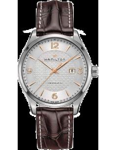 Chic Time   Montre Hamilton H32755551 Jazzmaster Viewmatic automatique acier sur cuir marron 44 mm    Prix : 850,50€