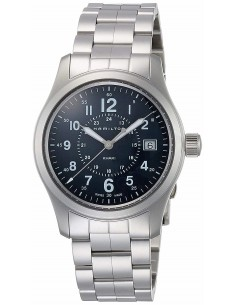 Chic Time | Montre Hamilton H68201143 Khaki Field quartz acier cadran bleu 38 mm  | Prix : 425,00€