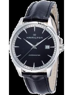 Chic Time | Montre Hamilton H32451731 Jazzmaster quartz acier sur cuir noir cadran noir 40 mm  | Prix : 495,00€