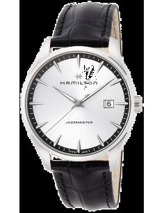 Chic Time | Montre Hamilton H32451751 Jazzmaster quartz acier sur cuir noir cadran argenté 40 mm  | Prix : 495,00€