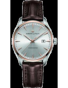 Chic Time   Montre Hamilton H32441551 Jazzmaster quartz acier PVD rose sur cuir marron 40 mm    Prix : 490,50€