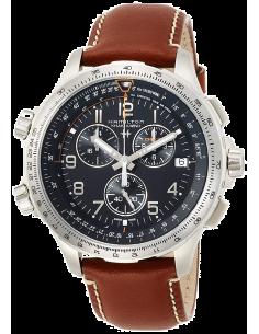 Chic Time | Montre Hamilton H77912535 Khaki Aviation X-Wind GMT quartz acier sur cuir marron 46 mm  | Prix : 895,00€