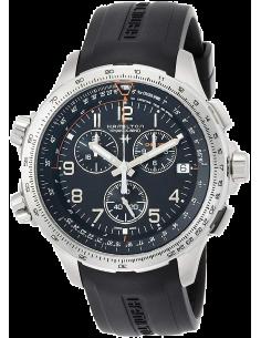 Chic Time | Montre Hamilton H77912335 Khaki Aviation X-Wind GMT quartz acier sur caoutchouc noir 46 mm  | Prix : 850,50€