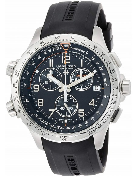 Chic Time   Montre Hamilton H77912335 Khaki Aviation X-Wind GMT quartz acier sur caoutchouc noir 46 mm    Prix : 850,50€