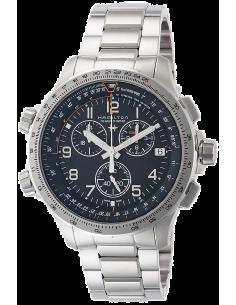 Chic Time | Montre Hamilton H77912135 Khaki Aviation X-Wind GMT quartz acier cadran noir 46 mm  | Prix : 945,00€