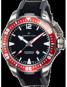 Chic Time | Montre Hamilton H77805335 Khaki Navy Frogman automatique titane sur caoutchouc noir 46 mm  | Prix : 1,210.50