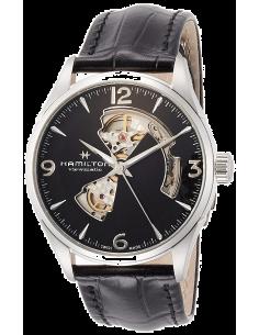 Chic Time | Montre Hamilton H32705731 Jazzmaster Open Heart automatique H-10 acier sur cuir noir 42 mm  | Prix : 925,00€