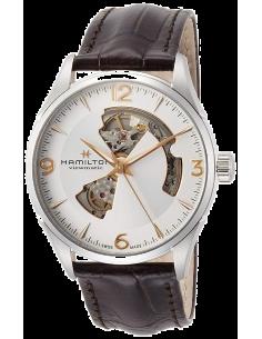 Chic Time | Montre Hamilton H32705551 Jazzmaster Open Heart automatique H-10 acier sur cuir marron 42 mm  | Prix : 925,00€