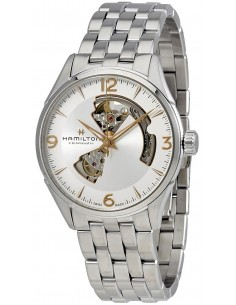 Chic Time | Montre Hamilton H32705151 Jazzmaster Open Heart automatique H-10 acier cadran argenté 42 mm  | Prix : 975,00€