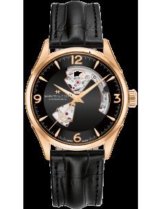 Chic Time | Montre Hamilton H32735731 Jazzmaster Open Heart automatique H-10 acier PVD or rose sur cuir 42 mm  | Prix : 652,50€