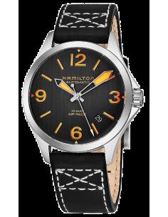 Chic Time | Montre Hamilton H76235731 Khaki Aviation Air Race automatique cadran noir et orange 38 mm  | Prix : 645,00€
