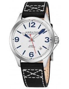 Chic Time | Montre Hamilton H76225751 Khaki Aviation Air Race automatique acier sur cuir noir 38 mm  | Prix : 580,50 €