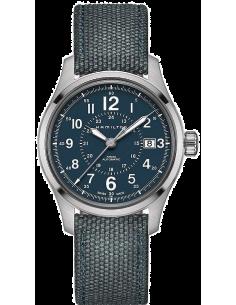 Chic Time | Montre Hamilton H70305943 Khaki Field automatique H-10 bracelet canevas bleu 40 mm  | Prix : 535,50€