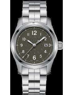 Chic Time   Montre Hamilton H70605163 Khaki Field automatique H-10 acier cadran vert 42 mm    Prix : 745,00€