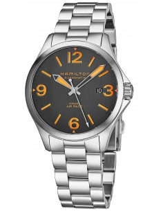 Chic Time | Montre Hamilton H76235131 Khaki Aviation Air Race automatique acier cadran noir et orange 38 mm  | Prix : 625,50 €