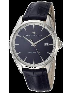 Chic Time   Montre Hamilton H32451641 Jazzmaster quartz acier sur cuir bleu 40 mm    Prix : 495,00€
