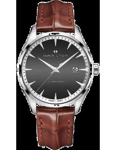 Chic Time | Montre Hamilton H32451581 Jazzmaster quartz acier sur cuir marron 40 mm  | Prix : 445,50€