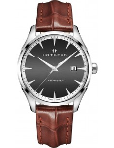 Chic Time | Montre Hamilton H32451581 Jazzmaster quartz acier sur cuir marron 40 mm  | Prix : 495,00€