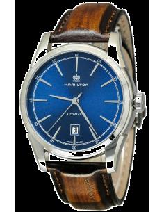 Chic Time   Montre Hamilton H42415541 American Classic Spirit of Liberty automatique cadran bleu sur cuir 42 mm    Prix : 760...