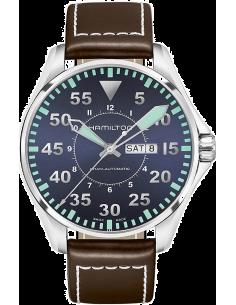 Chic Time   Montre Hamilton H64715545 Khaki Aviation Pilot automatique acier cadran bleu sur cuir marron 46 mm    Prix : 795,...