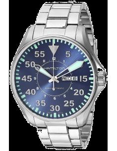 Chic Time | Montre Hamilton H64715145 Khaki Aviation Pilot automatique acier cadran bleu 46 mm  | Prix : 845,00€