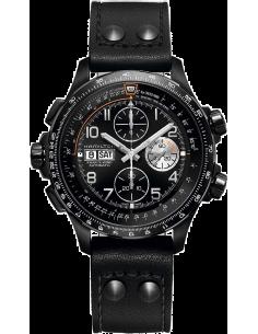Chic Time   Montre Hamilton H77736733 Khaki Aviation X-Wind automatique chronographe acier traité PVD noir sur cuir 45 mm    ...