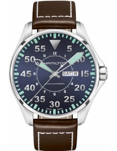 Chic Time | Montre Hamilton H64615545 Khaki Aviation Pilot automatique day-date cadran bleu sur cuir marron 42 mm  | Prix : 7...